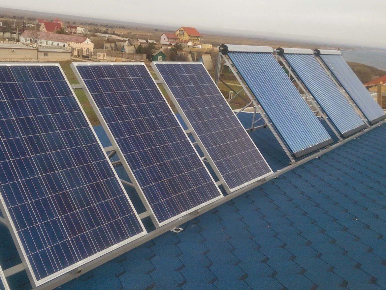 г. Черноморское, гелиосистема, гибридная солнечная электростанция 1 кВт - фото