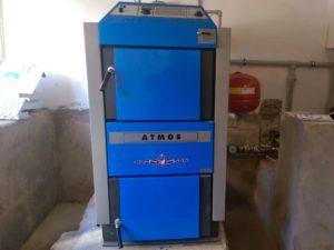 Монтаж дровяного котла  (Atmos) на 35 кВт. в Судаке