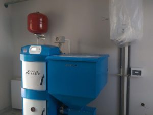 Установка пеллетного котла 25 кВт в селе Строгоновка