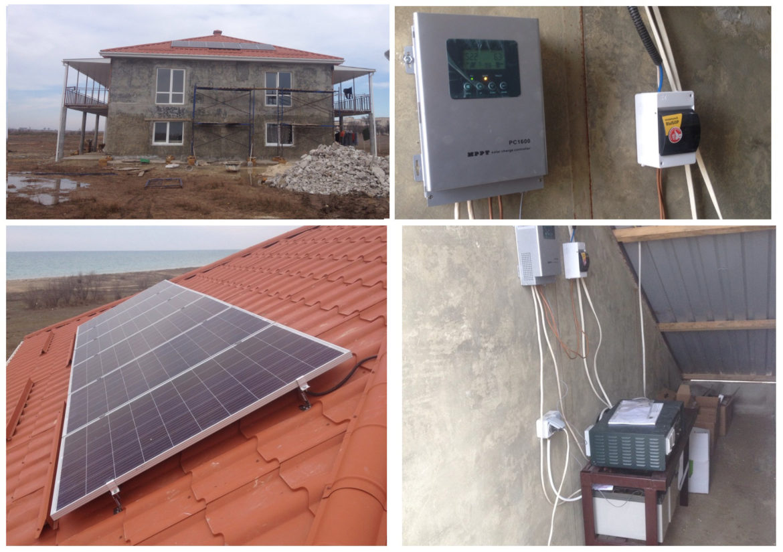 пос. Молочное, частный дом, Автономная система энергообеспечения на базе солнечных поликристаллических модулей фото 1