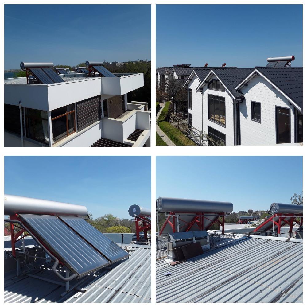 10 термосифонных установок по 200л в коттеджном поселке в г. Щёлкино - фото 1