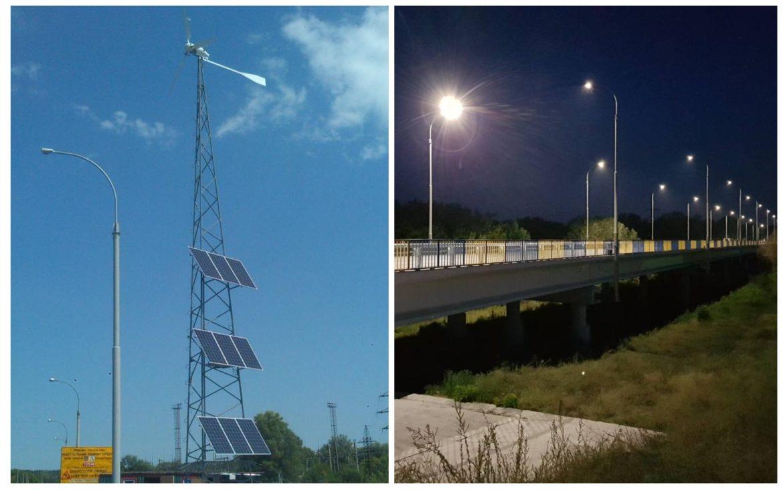 Один из самых длинных мостов Донетчины оборудовали солнечными панелями - фото