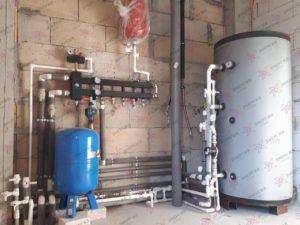 Котельная на основе газового котла на 40 кВт и бака косвенного нагрева на 750 л.