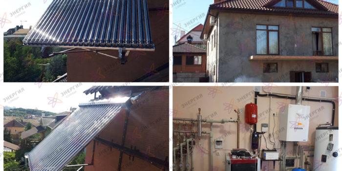 Круглогодичное горячее водоснабжение на базе солнечного вакуумного коллектора Viessmann.